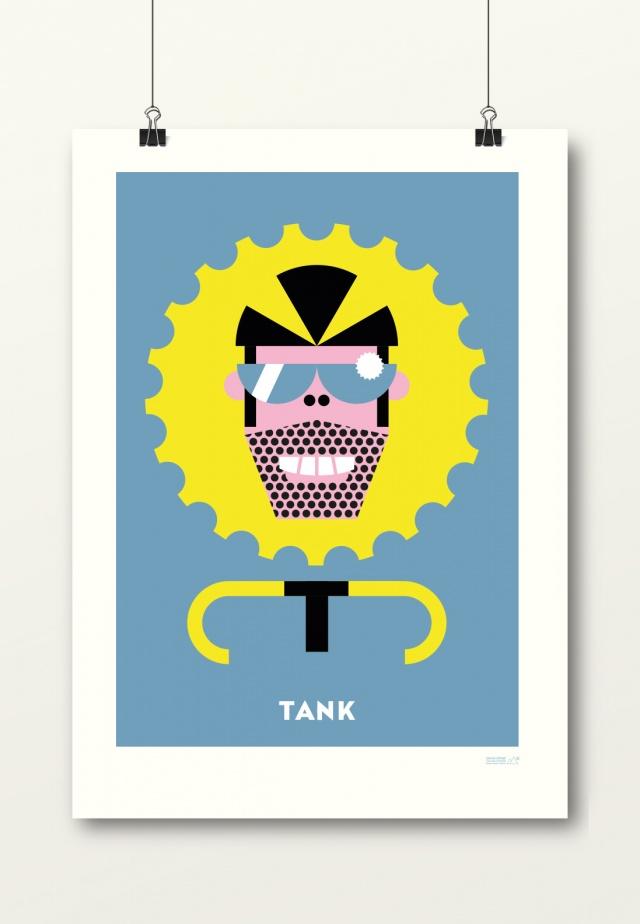 poster Tank hemelsblauw